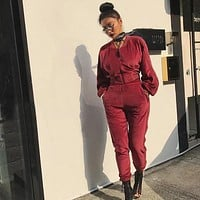 Good Quality Velvet Tracksuit Women Fashion Long Sleeve Top And Pants Suit Runway