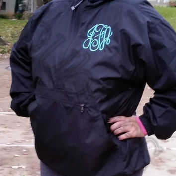 Pullover Rain Coat with FREE MONOGRAM black quarter zip hood