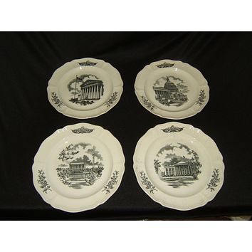 Wedgwood Federal City Plates 10-1/2in Diameter Set of 4 Vintage China -- Used