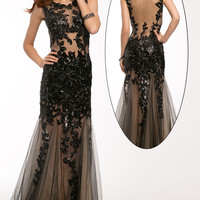 Sleeveless Lace Applique Gown 24551 - Prom Dresses
