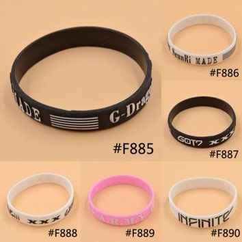 Lychee Kpop Bigbang G Dragon Got7 Bts Bantam Boys Infinite Same Style Fan Made Silicon Bracelet Wristband