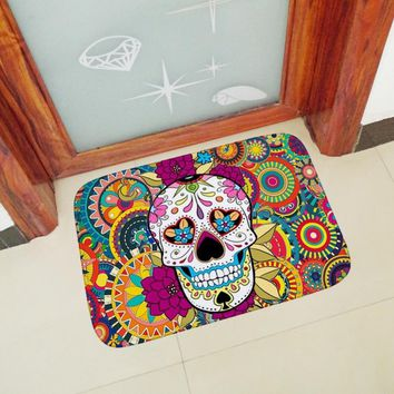 Autumn Fall welcome door mat doormat 40*60cm Halloween Decor Colorful  Rugs Floor Mat Carpets Soft Flannel Anti-slip Entrance Indoor Door Kitchen Bath Mats AT_76_7
