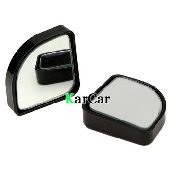 1Pair Push Rearview View Convex Mirror Wide Angle Sector Adjustable Auto Car Blind Spot Mirror Black