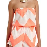 2B Printed Strapless Short Romper 2b Day Dresses Neon Coral-m