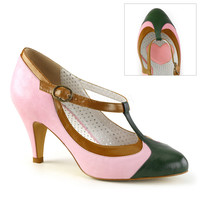 Pinup Couture Peach T-Strap Pump Baby Pink