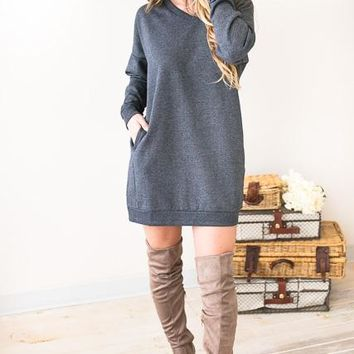 Casual Friday Grey V-Neck Sweatshirt Dress
