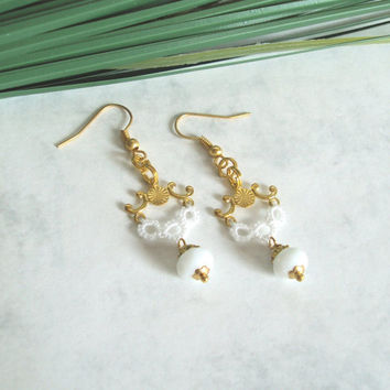 Beaded Lace Dangle Earrings - Gold , Off White Tatting- Renaissance Baroque Rococo Inspired - Limited Edition 1 of 2  - Luna