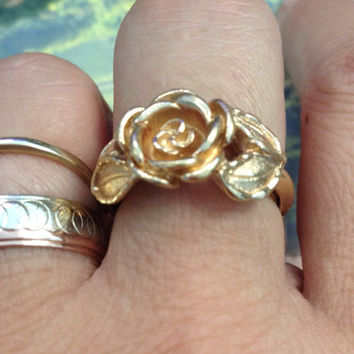 Rose Ring, Sculpted Rose Ring, Gold Rose Ring, Avon Rose Ring, Floral Gold Ring