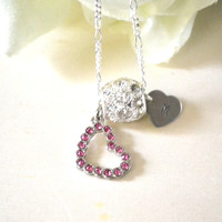 Personalized Hand Stamped Heart Necklace, pink crystal heart charm clear crystal bead, initial charm jewelry