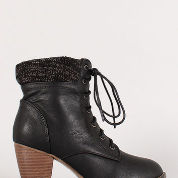 Mel-12 Sweater Cuff Lace Up Almond Toe Bootie