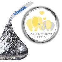 Elephant Yellow Baby Shower Hershey Kiss Labels