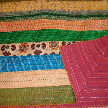 sari silk pattola patchwork quilt throw QUEEN size