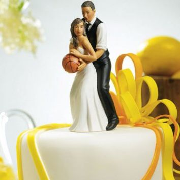 Basketball Dream Team Bride and Groom Couple Figurine - African American - Wedding Collectibles