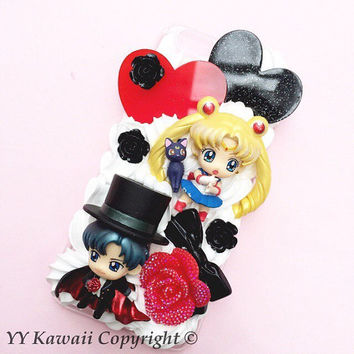 Glitter form Custom Sailor moon vs Tuxedo Mask Decoden Case Iphone 4/4s, 5/5s/5c, Samsung Galaxy S2, S3, S4 or Ipod Touch, Htc One
