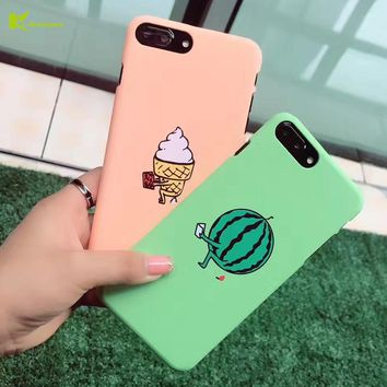 KL-Boutiques Funny Ice Cream Case for iphone 6 7 Cases Cartoon Watermelon PC Cover for Coque iphone 6 6S 7 Plus Fundas Men Women