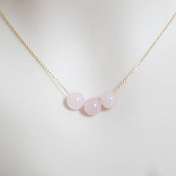 Triple, Rose quartz, Gold filled, Sterling silver, Necklace, Modern, Ball, Necklace, Lover, Friends, Mom, Sister, Gift, Accessory, Jewelry