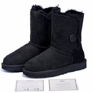 DCCKUN7 Ready Stock Black Sheepskin Wool-one Ugg Tall Boots With Wood Button From Artemisoutlet