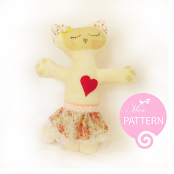 Cat Gloria PDF sewing pattern & tutorial, Plush Pattern, kitten, kitty, girl, fabric, simple, easy, softie, stuffed, sew, soft, toy, gift.