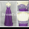 Bridemaid dress  sweetheart crystal beading beach style long purple chiffon