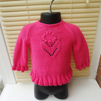 Hand Knitted Baby Sweater, Girls Pink Jumper, Hand knitted Baby Top,Girls Top