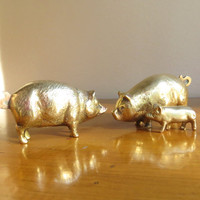 Vintage Brass Pig Figurines, Gold Pig Statues, Hog, Farm Animal Collectible, Pig Paperweight, Pig Family