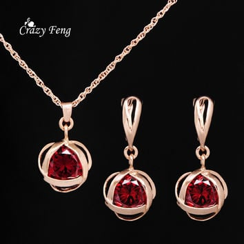 Sapphire Jewelry Set For Women Austrian Crystal Jewelry Pendant Necklace Earrings Gold Plated Wedding Party Ruby Jewelry Set