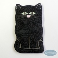 Black Cat Sunglass Case or Cell Phone Case, Glow in the Dark Eyes