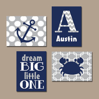 Nautical Wall Art Nursery Canvas Navy Gray Artwork Boy Girl Child Sea Ocean Crab Anchor Dream Big One Monogram Name Set of 4 Prints Baby