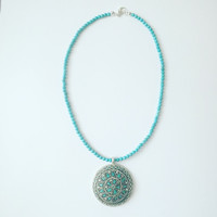 Turquoise Necklace with Tibetan Turquoise Inlay Pendant