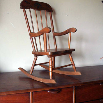 Vintage Child's Rocking Chair - Wooden - Country Detailing - High Slat Back - Children's Playroom or Nursery Furniture - Granny's Rocker