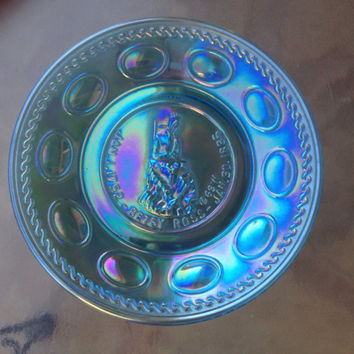 Betsy Ross Plate, Blue Iridescent glass plate, Wheaton Glass Commemorative Plate Betsy Ross Iridescent Blue Plate