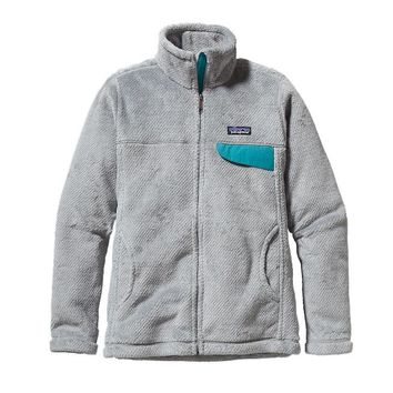 Patagonia Women's Full-Zip Re-Tool Fleece Jacket | Tailored Grey - Nickel X-Dye w/Tobago Blue