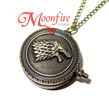 GAME OF THRONES House Stark Small Pocket Watch Necklace