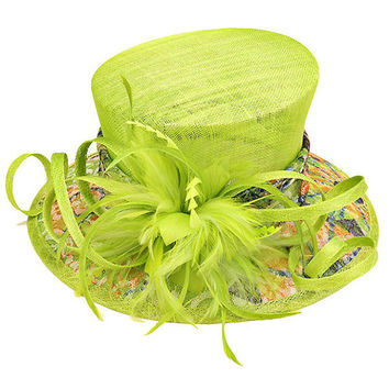 Kentucky Derby Church Wedding Tea Party Short Brim Feather & Flower Pattern Dressy Sinamay Hat - Lime Green
