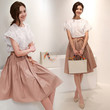 White Lace Patchwork Flounce Cap Sleeve Top and Light Pink Pleated Midi Skirt