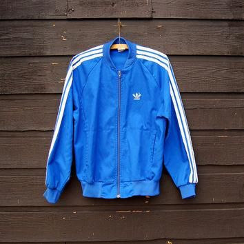 80's Adidas Jacket, MED Blue White Track Jacket , Three Stripes Adidas Trefoil Zip Up