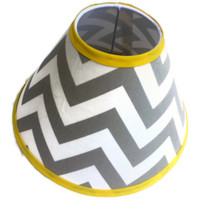 Chevron Lamp Shade 4 x 11 x 7 in your choice of fabric and trim colors - Lampshade