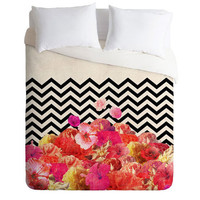 Deny Designs Chevron Flora 2 Luxe Duvet Cover White/Black One Size For Women 23690116801