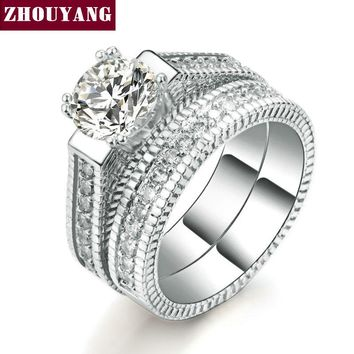 Silver Color Luxury 2 Rounds Bijoux Fashion Wedding Ring Set Cubic Zirconia Jewelry For Women As Chirstmas Gift ZYR606