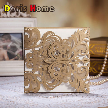 HOT Western-Style Champange Gold Laser-Cut Lace Flower Pattern Customizable Printable Wedding Invitations Cards,CW3109