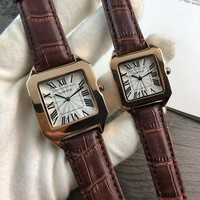 hcxx C050 Cartier Simple Leisure Fashion Automatic Leather Watchand Lovers Watches Maroon