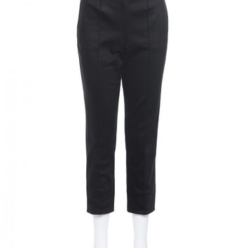 Laura Byrnes California Plus Size High Waisted Cropped Trousers in Black Twill