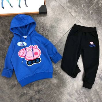 Peppa Pig Girls Boys Children Baby Toddler Kids Child Fashion Casual Top Sweater Pullover Hoodie Pants Trousers Two Piece Set