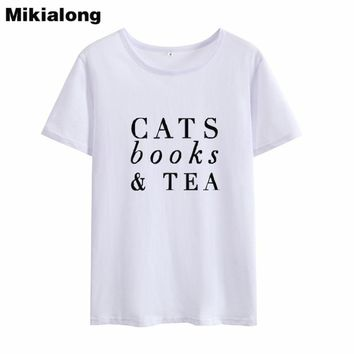 Mikialong 2018 CATS BOOKS & TEA 100% Cotton Short Sleeve Harajuku Tops Summer T-shirt for Women Kawaii Tumblr Tshirt Feminina