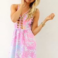 Printed Halter Dress with Cutout Detail & Open Tie Back