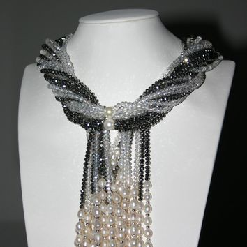 Grey White Crystal And White Freshwater Pearl Necklace