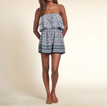 Patterned Strapless Ruffle Romper
