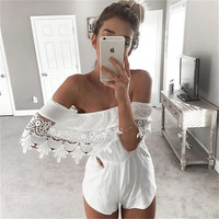 Crochet White Lace Jumpsuit