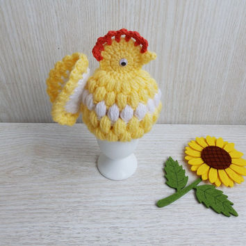Crochet Easter Chicken Egg Warmer, Crochet Egg Cover Easter Ornament, Handmade Dining Decoration