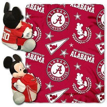 Alabama Crimson Tide NCAA Mickey Mouse Throw and Hugger Pillow Set